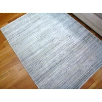 Super Soft Stunning Natural Wool & Viscose Rugs 14193 Silver Marble