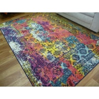 Persian Washed Out Design Floor Area Rug Brightness Multi
