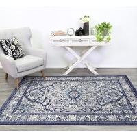 Traditional Thrones Detailed Medallion Design Navy Floor Area Rugs and Runners
