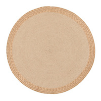 Round Target Jute Natural Copper Eco Floor Area Rug