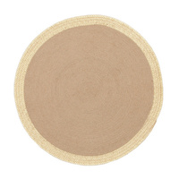 Round Target Jute Natural Gold Eco Floor Area Rug