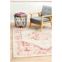 Traditional Suburban Design Washed Diamond Medallion Rose Floor Area Rugs Runners and Circles