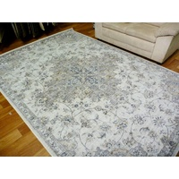 Traditional Vandenberg Printed Design Detailed Floral Medallion Grey Floor Area Rugs