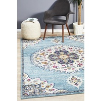 Bright Traditional Euphrates Design Blue Oval Medallion Floor Area Rugs Runners and Circles