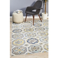 Bright Traditional Euphrates Design Blue Floral Tiles Floor Area Rugs Runners and Circles