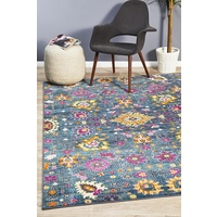 Bright Traditional Euphrates Design Blue Floral Vines Floor Area Rugs Runners and Circles