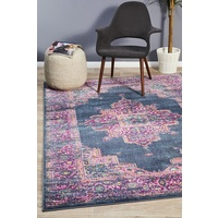 Bright Traditional Euphrates Design Navy Medallion Floor Area Rugs Runners and Circles