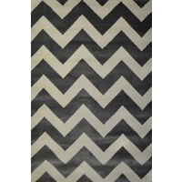 Bright Modern Rugs Retro Funk Grey White Chevron