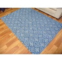 Flatwoven Wool Hazelmere Design Diamonds Blue Floor Area Rugs and Runners