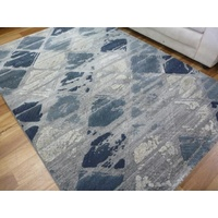 Soft Feel Modern Rugs Florence Tiles Blue Rug