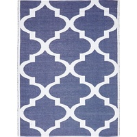 Indoor Outdoor Living Flatweave Floor Area Rug Moroccan Navy White Recycled PVC