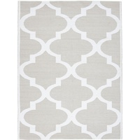 Indoor Outdoor Living Flatweave Floor Area Rug Moroccan Taupe White Recycled PVC