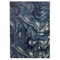 Contemporary Modern Cool Indigo Lava Waves Design Dreams Floor Area Rug