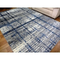 Diamond Grey Dark Blue Grid 12mm Thick Bright Modern Design Floor Area Rugs