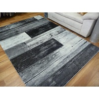Diamond Black Grey White Rectangles 12mm Thick Modern Design Floor Area Rug