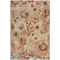 Contemporary Modern Rugs Imagination Floral Rose Rust Beige Grey