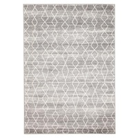 Silver Moroccan Diamonds Design Transitional Floor Area Rug Istanbul