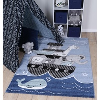 Kids Play Mat Serrif Design Animal Arc Blue Floor Area Rugs