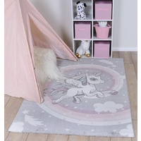 Kids Play Mat Serrif Design Unicorn Grey Pastels Floor Area Rugs