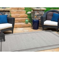 Dual Textured Indoor Outdoor Border Grey Maui Design Floor Area Rugs and Runners