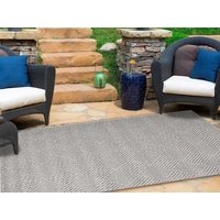 Dual Textured Indoor Outdoor Boxes Grey Maui Design Floor Area Rugs and Runners