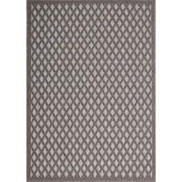 Dual Textured Indoor Outdoor Trellis Charcoal Maui Design Floor Area Rugs and Runners