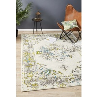 Emberlain Design Traditional Washed Out Floor Area Rug White Green