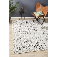 Emberlain Design All Over Worn Diamonds Floor Area Rug Cream Black