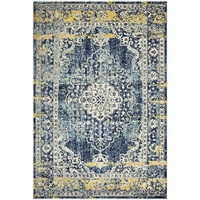 Traditional Vadran Design Ancient Wide Bordered Medallion Floor Area Rugs And Runners Navy