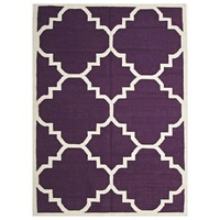 Wool Flat Weave Large Moroccan Design Aubergine Floor Area Rug and Runners Enhance