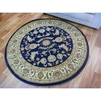 Julian Persian Design Round Navy 500 Classical 1.2 or 1.6m Area Floor Rugs