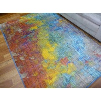 10mm Thick Modern Brightly Coloured Reef Design Yellow Floor Area Rugs
