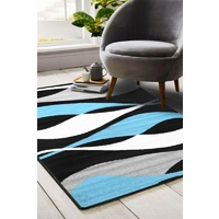 Modern Malaga Design Blue Black Waves Floor Area Rugs