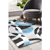 Modern Malaga Design Blue Grey Ripples Floor Area Rugs