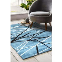 Modern Malaga Design Blue Grey Sticks Floor Area Rugs