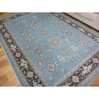 Persian Classic Allover Design Floor Area Rugs Dusky Blue Brown Border