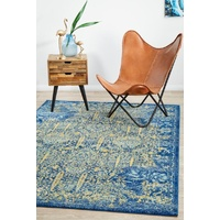 Traditional Radiant Design Aged Floral Allover Blue Yellow Floor Area Rugs Runners and Circles