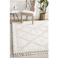 Soft 40mm Thick Fringed Basmati Design Cream Pink Aztec Floor Area Rugs and Runners