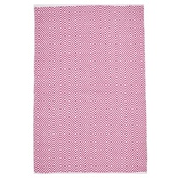 Affordable Flatweave Chevron Primitive Floor Area Rugs Pink Chenille and Cotton