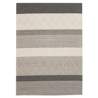 Modern Deco Design Multi Patern Wool Viscose Floor Area Rug Silver