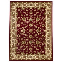 Persian Design Floor Area Rug Red with Ivory Border Marmaris & Hallway Runners