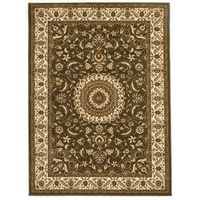 Persian Medallion Design Floor Area Rug Green with Ivory Border Marmaris & Hallway Runners