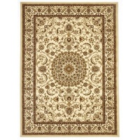 Persian Medallion Design Floor Area Rug Ivory with Ivory Border Marmaris & Hallway Runners