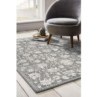 Traditional Pavarotti Light Grey Washed Medallion Design Floor Area Rugs and Runners