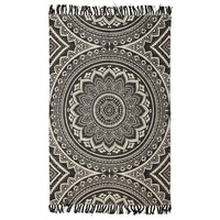 Traditional Primitive Design Mandala Cotton Flatweave with Fringe Black Floor Area Rug