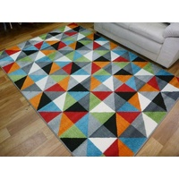 Bright Modern Floor Area Rugs Mirage Multi Coloured Triangles