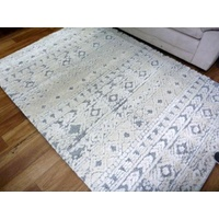 Dual Textured Contemporary Design Sif Grey/White Tribal Pattern Floor Area Rugs