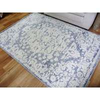 Dual Textured Contemporary Design Sif White/Grey Oval Pattern Floor Area Rugs