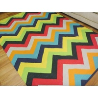 Reversible Flatweave Chevron Cotton Floor Rugs Bright Multi Colours