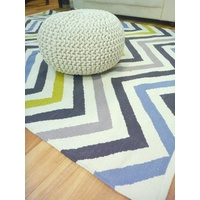 Reversible Flatweave Chevron Cotton Floor Rugs Multi Colours
